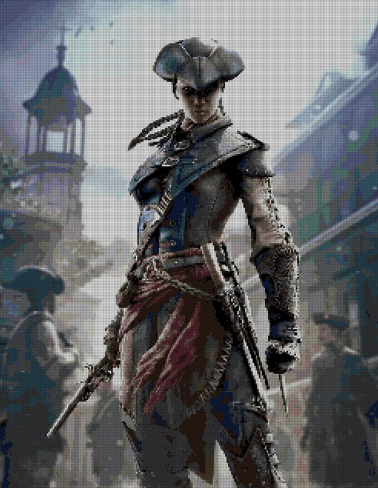 Assassin's Creed Female DMC cross stitch pattern in pdf DMC