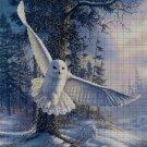 Snowy owl DMC cross stitch pattern in pdf DMC