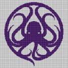 Octopus 2 silhouette cross stitch pattern in pdf