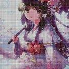 Girl with umbrella DMC cross stitch pattern in pdf DMC