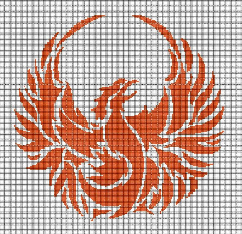 Phoenix silhouette cross stitch pattern in pdf