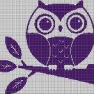 Purple owl on branch silhouette cross stitch pattern in pdf