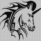 Tribal horse head silhouette cross stitch pattern in pdf