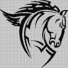 Tribal horse 2 head silhouette cross stitch pattern in pdf