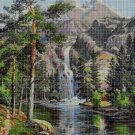 Landscape with waterfall DMC cross stitch pattern in pdf DMC