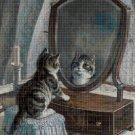 Little cat in mirror DMC cross stitch pattern in pdf DMC