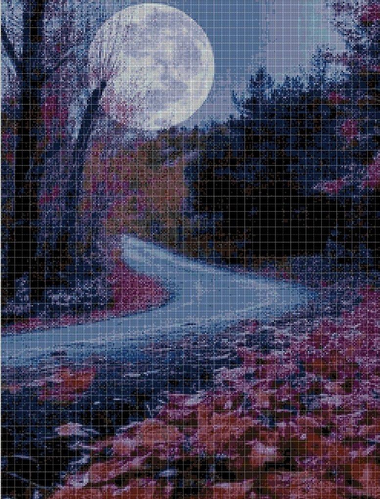 Night landscape DMC cross stitch pattern in pdf DMC