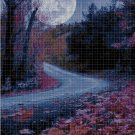 Night landscape DMC cross stitch pattern in pdf DMC