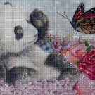 Panda with butterfly DMC cross stitch pattern in pdf DMC