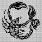 Tribal scorpion silhouette cross stitch pattern in pdf