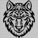 Tribal wolf head silhouette cross stitch pattern in pdf