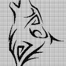 Tribal wolf head 3 silhouette cross stitch pattern in pdf