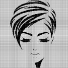 Woman face silhouette cross stitch pattern in pdf