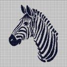 Zebra head silhouette cross stitch pattern in pdf
