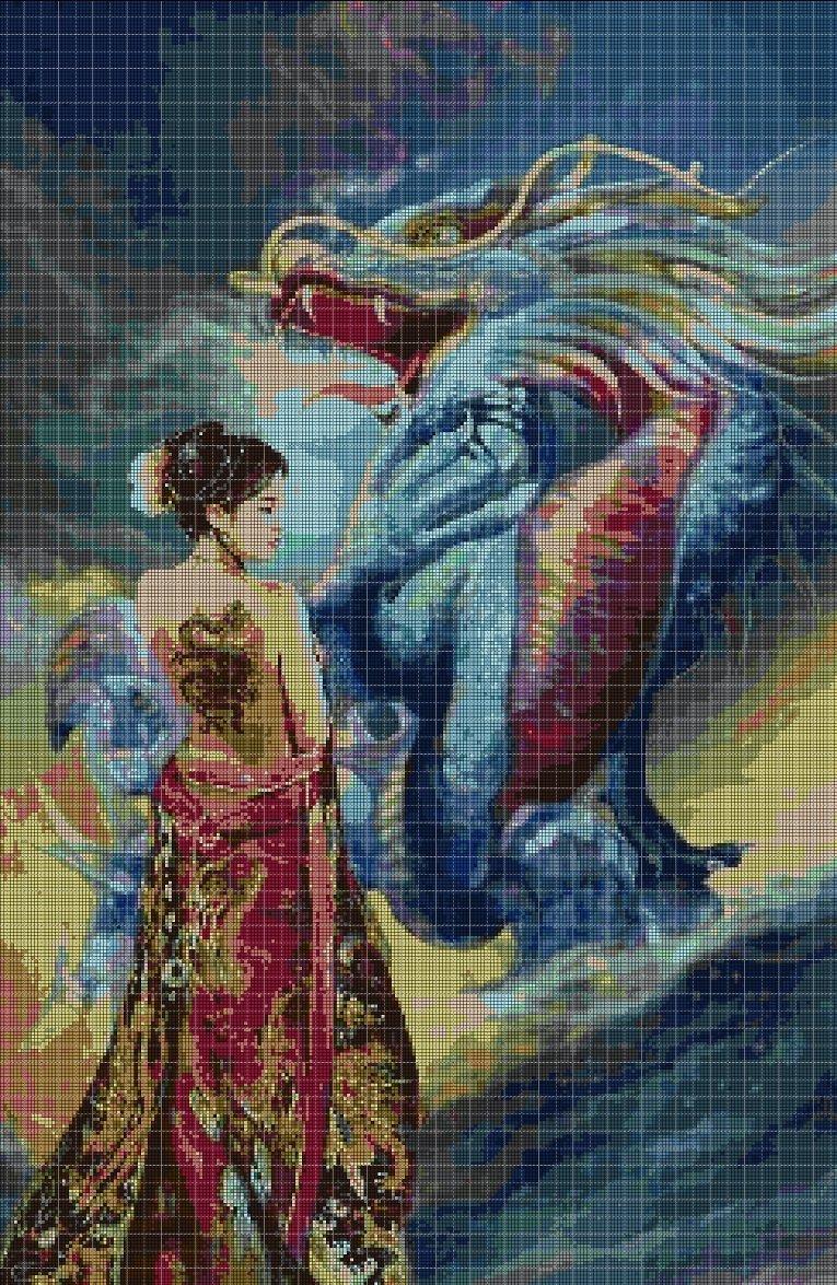 Chinese girl and dragon DMC cross stitch pattern in pdf DMC