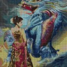Chinese girl and dragon DMC cross stitch pattern in pdf DMC