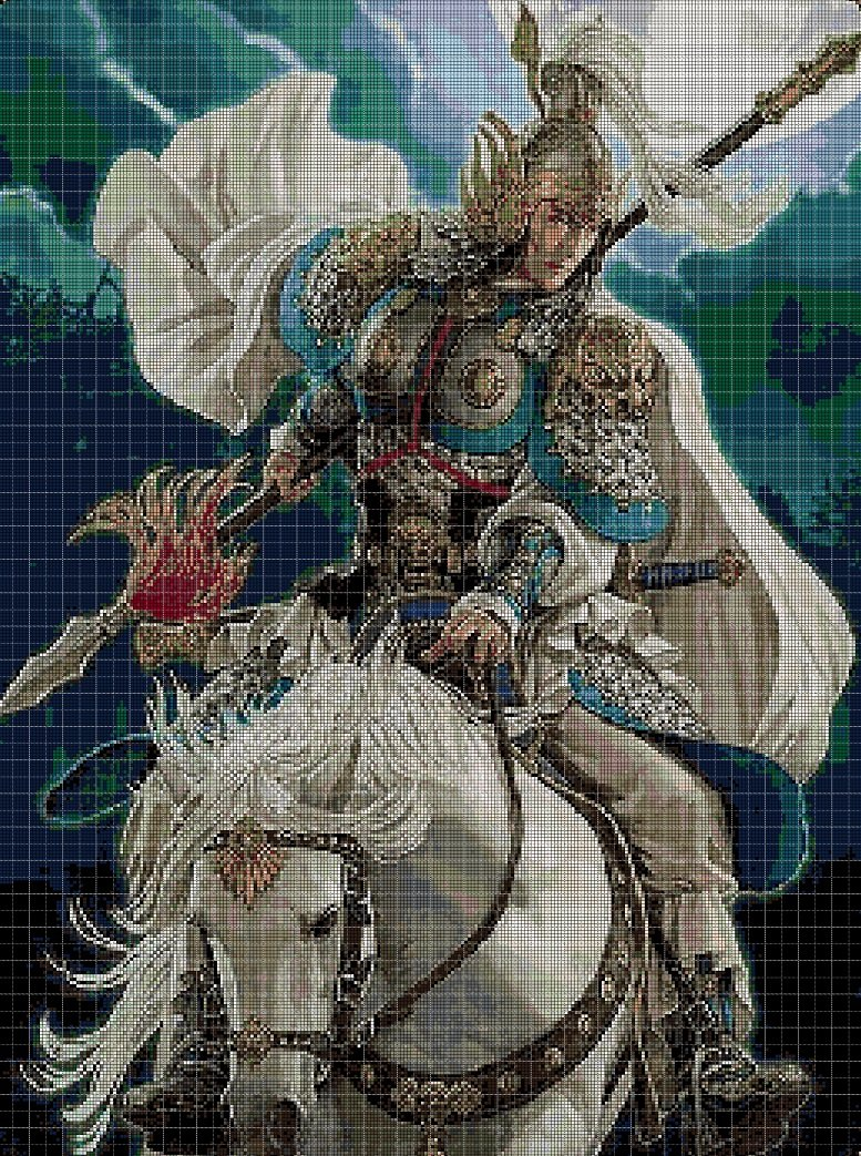 Chinese warrior DMC cross stitch pattern in pdf DMC
