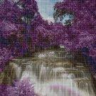 Purple landscape DMC cross stitch pattern in pdf DMC