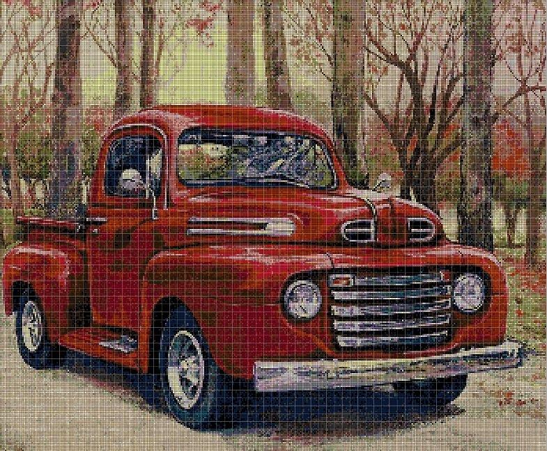 Red Pickup DMC cross stitch pattern in pdf DMC