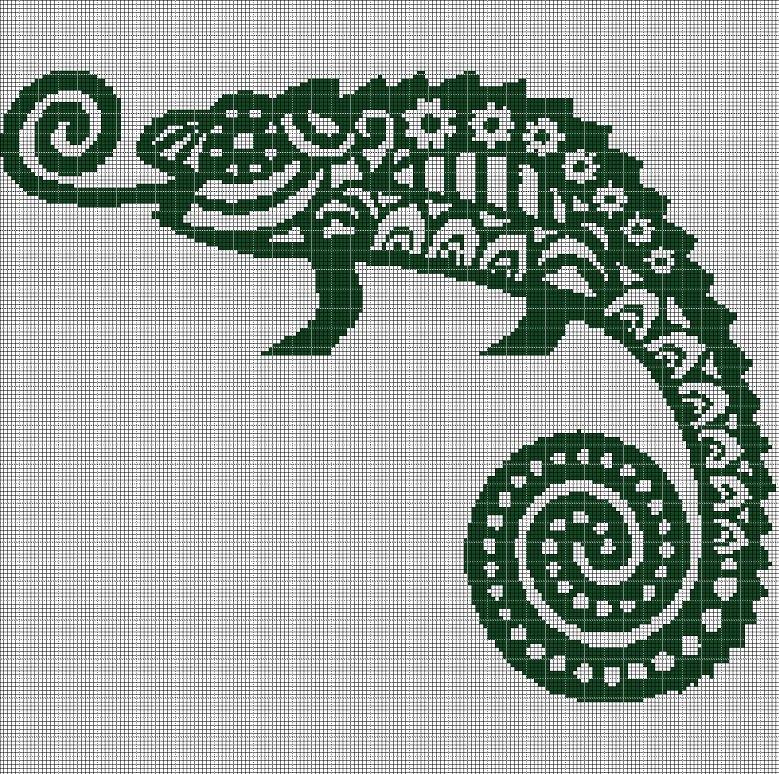Art cameleon silhouette cross stitch pattern in pdf