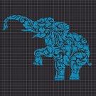 Art elephant silhouette cross stitch pattern in pdf