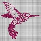 Art hummingbird silhouette cross stitch pattern in pdf