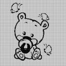 Baby bear silhouette cross stitch pattern in pdf