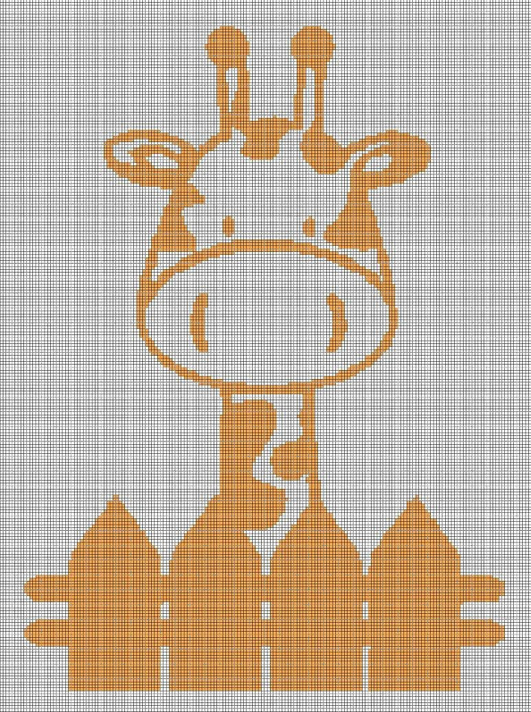 Baby giraffe silhouette cross stitch pattern in pdf