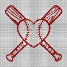 Baseball love cross stitch pattern in pdf