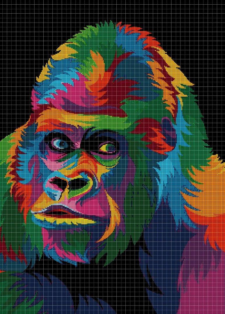 Colorful Gorillas DMC cross stitch pattern in pdf DMC