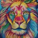 Colorful Lion DMC cross stitch pattern in pdf DMC