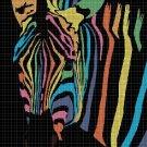 Rainbow zebra DMC cross stitch pattern in pdf DMC