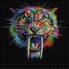 Saber-toothed tiger DMC cross stitch pattern in pdf DMC
