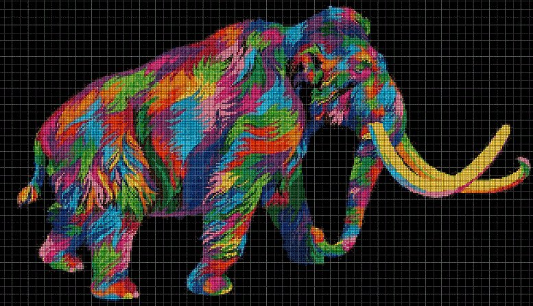 Wooly-mammoth  DMC cross stitch pattern in pdf DMC