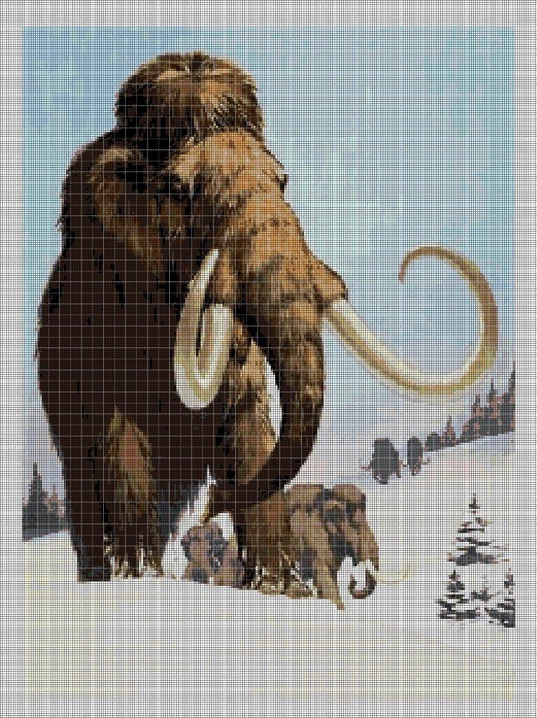 Wooly-mammoth2 DMC cross stitch pattern in pdf DMC