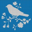 Bird with flowers silhouette cross stitch pattern in pdf