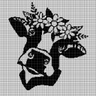 Cow head with flowers silhouette cross stitch pattern in pdf