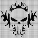 Flaming skull silhouette cross stitch pattern in pdf