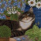 Cat among flowers DMC cross stitch pattern in pdf DMC