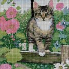 Cat among flowers 2 DMC cross stitch pattern in pdf DMC