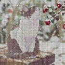 Cat in snow DMC cross stitch pattern in pdf DMC