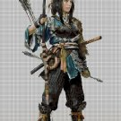 Samurai female DMC cross stitch pattern in pdf DMC