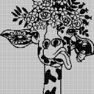 Giraffe head with flowers silhouette cross stitch pattern in pdf