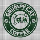 Grumpy Cat Coffee silhouette cross stitch pattern in pdf