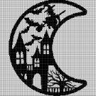 Halloween moon silhouette cross stitch pattern in pdf