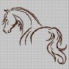 Horse silhouette cross stitch pattern in pdf