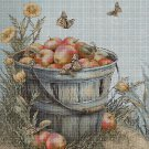 Apple in a bucket 2 DMC cross stitch pattern in pdf DMC