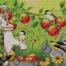 Apples and birds DMC cross stitch pattern in pdf DMC