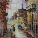 Autumn in the town DMC cross stitch pattern in pdf DMC