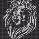 Lion head 3 silhouette cross stitch pattern in pdf